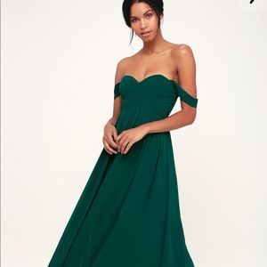 Maxi off the shoulder forest green dress